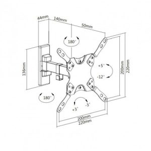 "Full-Motion TV Wall Bracket 13""- 42"""