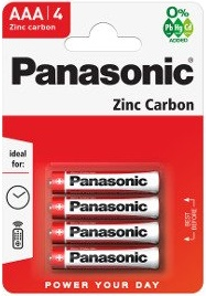 AAA Batteries Panasonic Zinc Carbon (4 Pack)